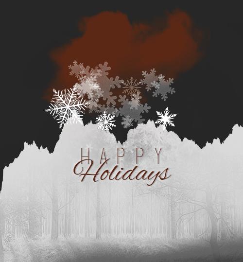 Weihnachtliches Bild mit Aufschrift Happy Holidays